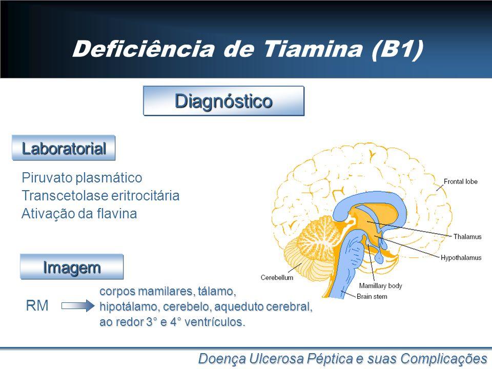 Deficiência de Tiamina (B1) Doença Ulcerosa Péptica e suas Complicações Diagnóstico Piruvato plasmático Transcetolase eritrocitária Ativação da flavin