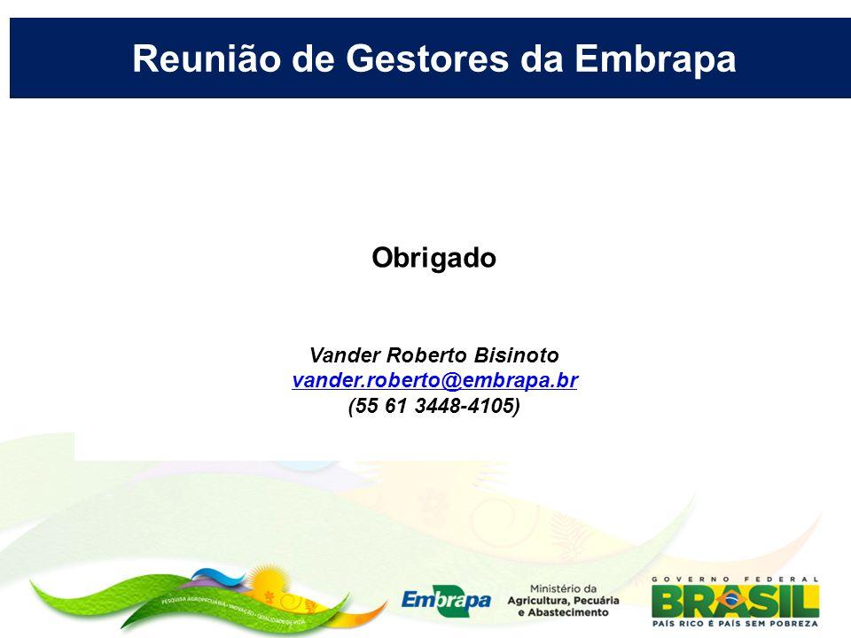 Obrigado Vander Roberto Bisinoto vander.roberto@embrapa.br (55 61 3448-4105) Reunião de Gestores da Embrapa