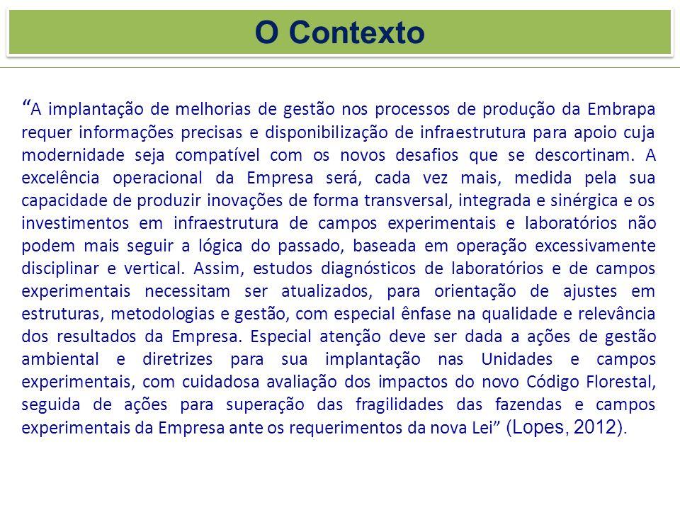O Contexto A implantação de melhorias de gestão nos processos de produção da Embrapa requer informações precisas e disponibilização de infraestrutura