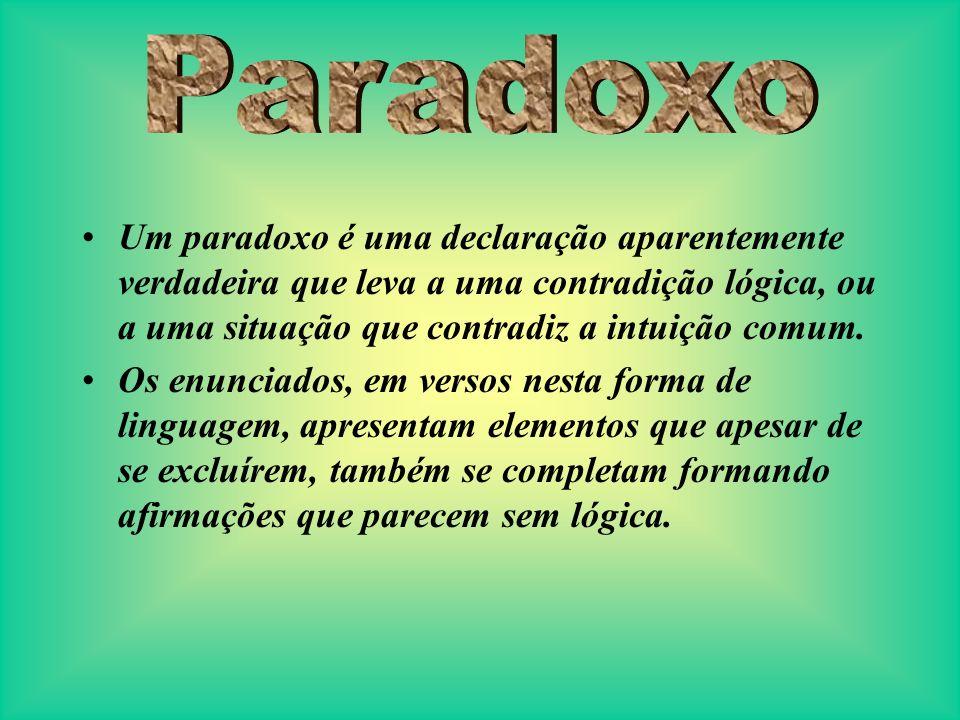 Um paradoxo é uma declaração aparentemente verdadeira que leva a uma contradição lógica, ou a uma situação que contradiz a intuição comum. Os enunciad