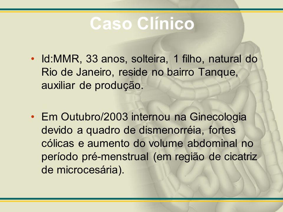 Caso Clínico Id:MMR, 33 anos, solteira, 1 filho, natural do Rio de Janeiro, reside no bairro Tanque, auxiliar de produção. Em Outubro/2003 internou na