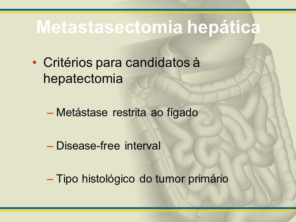 Metastasectomia hepática Critérios para candidatos à hepatectomia –Metástase restrita ao fígado –Disease-free interval –Tipo histológico do tumor prim