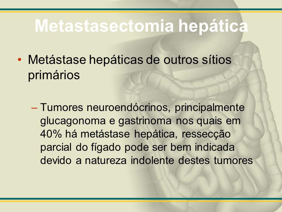Metastasectomia hepática Metástase hepáticas de outros sítios primários –Tumores neuroendócrinos, principalmente glucagonoma e gastrinoma nos quais em