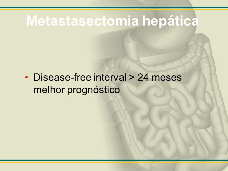 Metastasectomia hepática Disease-free interval > 24 meses melhor prognóstico