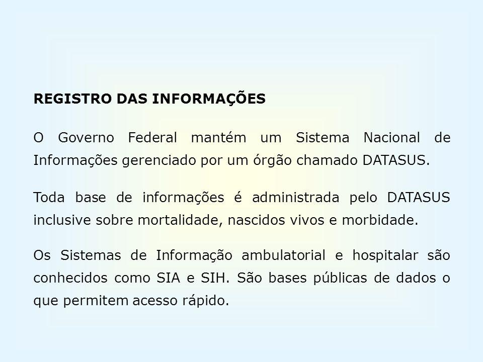 REGISTRO DAS INFORMAÇÕES O Governo Federal mantém um Sistema Nacional de Informações gerenciado por um órgão chamado DATASUS. Toda base de informações