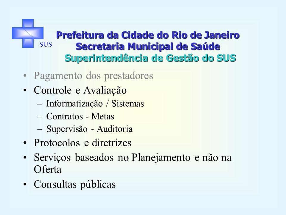 Prefeitura da Cidade do Rio de Janeiro Secretaria Municipal de Saúde Superintendência de Gestão do SUS SUS Pagamento dos prestadores Controle e Avalia
