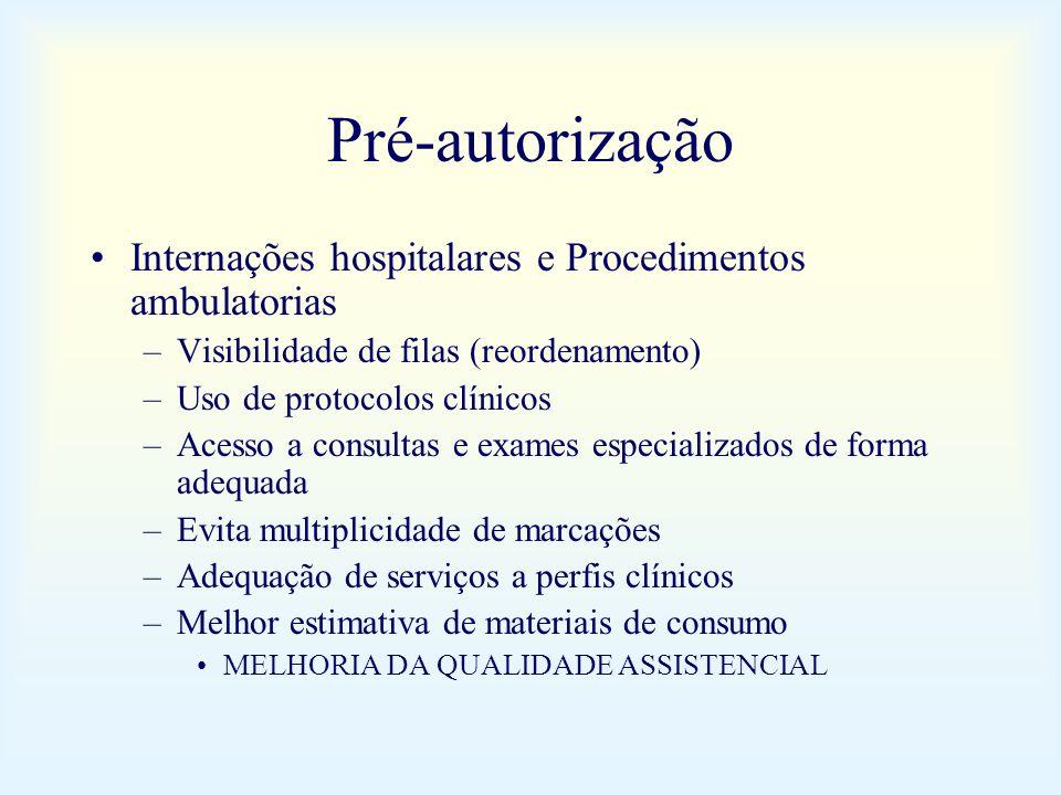 Pré-autorização Internações hospitalares e Procedimentos ambulatorias –Visibilidade de filas (reordenamento) –Uso de protocolos clínicos –Acesso a con