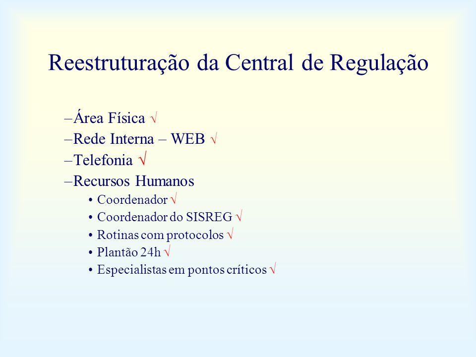 Reestruturação da Central de Regulação –Área Física –Rede Interna – WEB –Telefonia –Recursos Humanos Coordenador Coordenador do SISREG Rotinas com pro