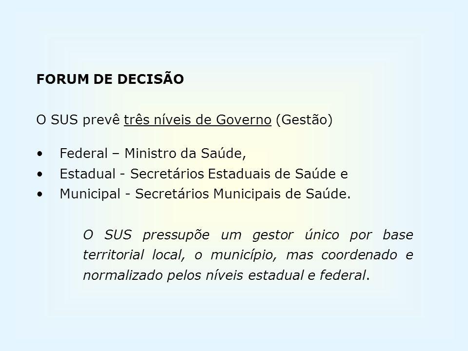 FORUM DE DECISÃO O SUS prevê três níveis de Governo (Gestão) Federal – Ministro da Saúde, Estadual - Secretários Estaduais de Saúde e Municipal - Secr