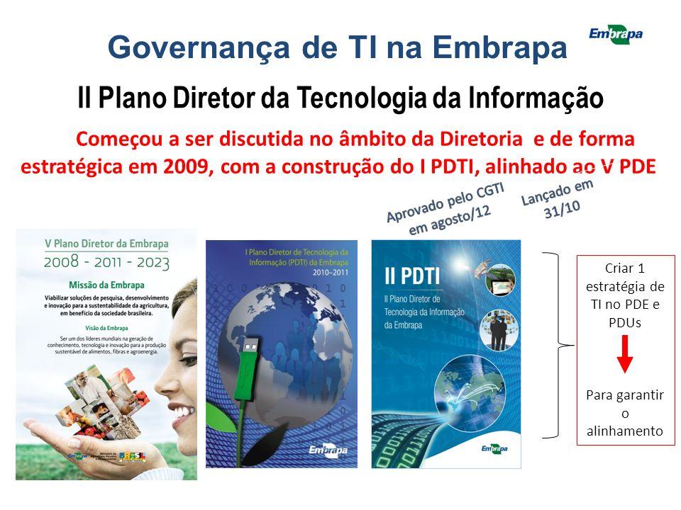 Governança de TI na Embrapa II Plano Diretor da Tecnologia da Informação Começou a ser discutida no âmbito da Diretoria e de forma estratégica em 2009