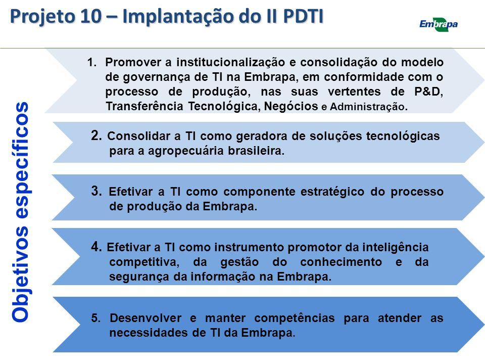 Objetivos específicos 1.Promover a institucionalização e consolidação do modelo de governança de TI na Embrapa, em conformidade com o processo de prod