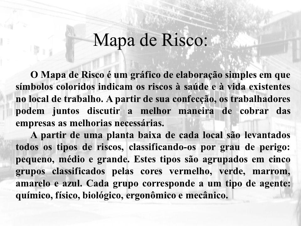 Mapa de Risco: O Mapa de Risco é um gráfico de elaboração simples em que símbolos coloridos indicam os riscos à saúde e à vida existentes no local de