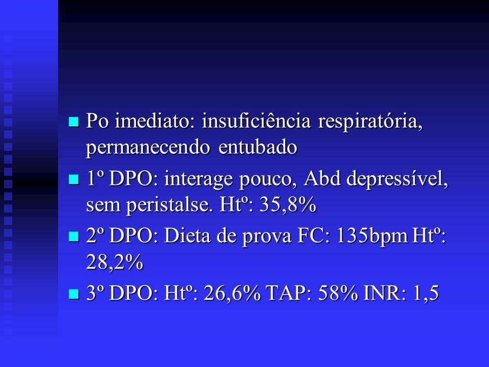 Po imediato: insuficiência respiratória, permanecendo entubado Po imediato: insuficiência respiratória, permanecendo entubado 1º DPO: interage pouco,