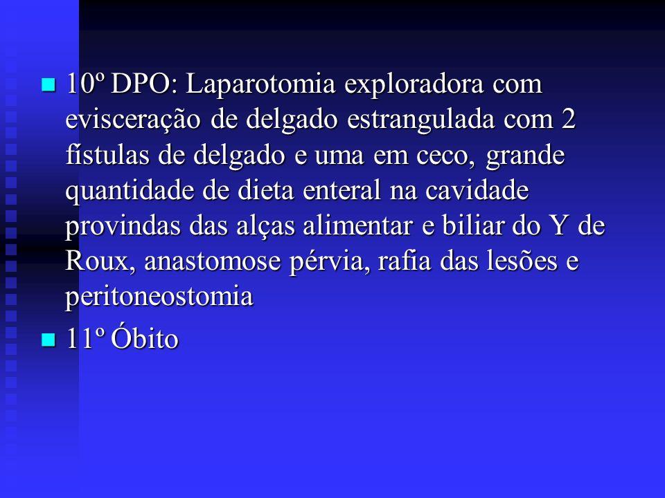 10º DPO: Laparotomia exploradora com evisceração de delgado estrangulada com 2 fístulas de delgado e uma em ceco, grande quantidade de dieta enteral n