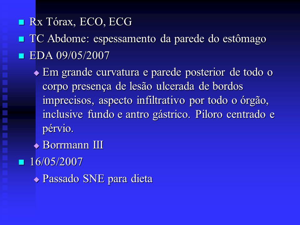 Rx Tórax, ECO, ECG Rx Tórax, ECO, ECG TC Abdome: espessamento da parede do estômago TC Abdome: espessamento da parede do estômago EDA 09/05/2007 EDA 0