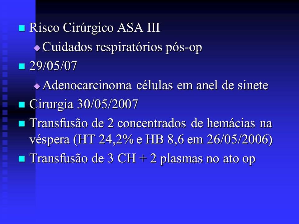 Risco Cirúrgico ASA III Risco Cirúrgico ASA III Cuidados respiratórios pós-op Cuidados respiratórios pós-op 29/05/07 29/05/07 Adenocarcinoma células e