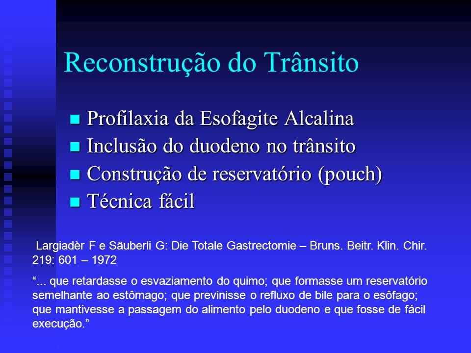 Reconstrução do Trânsito Profilaxia da Esofagite Alcalina Profilaxia da Esofagite Alcalina Inclusão do duodeno no trânsito Inclusão do duodeno no trân