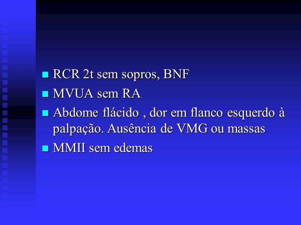 RCR 2t sem sopros, BNF RCR 2t sem sopros, BNF MVUA sem RA MVUA sem RA Abdome flácido, dor em flanco esquerdo à palpação. Ausência de VMG ou massas Abd
