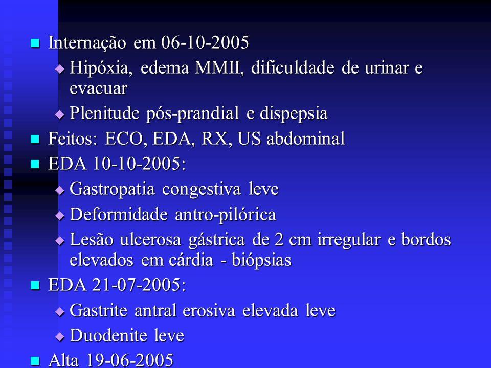 Internação em 06-10-2005 Internação em 06-10-2005 Hipóxia, edema MMII, dificuldade de urinar e evacuar Hipóxia, edema MMII, dificuldade de urinar e ev