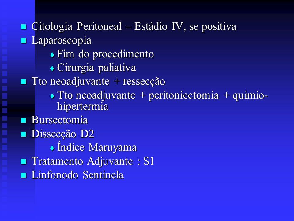Citologia Peritoneal – Estádio IV, se positiva Citologia Peritoneal – Estádio IV, se positiva Laparoscopia Laparoscopia Fim do procedimento Fim do pro