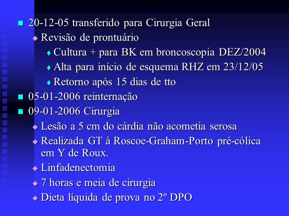 Bibliografia Analysis of risk factors for severe adverse effects of oral 5-fl uorouracil S- 1 in patients with advanced gastric cancer - Gastric Cancer (2007) 10: 129– 134 Bolsa duodenojejunal antiperistáltica na reconstrução do trânsito digestivo após gastrectomia sub-total, total e na síndrome pós-gastrectomia – Técnica – Arq de Gastroent.