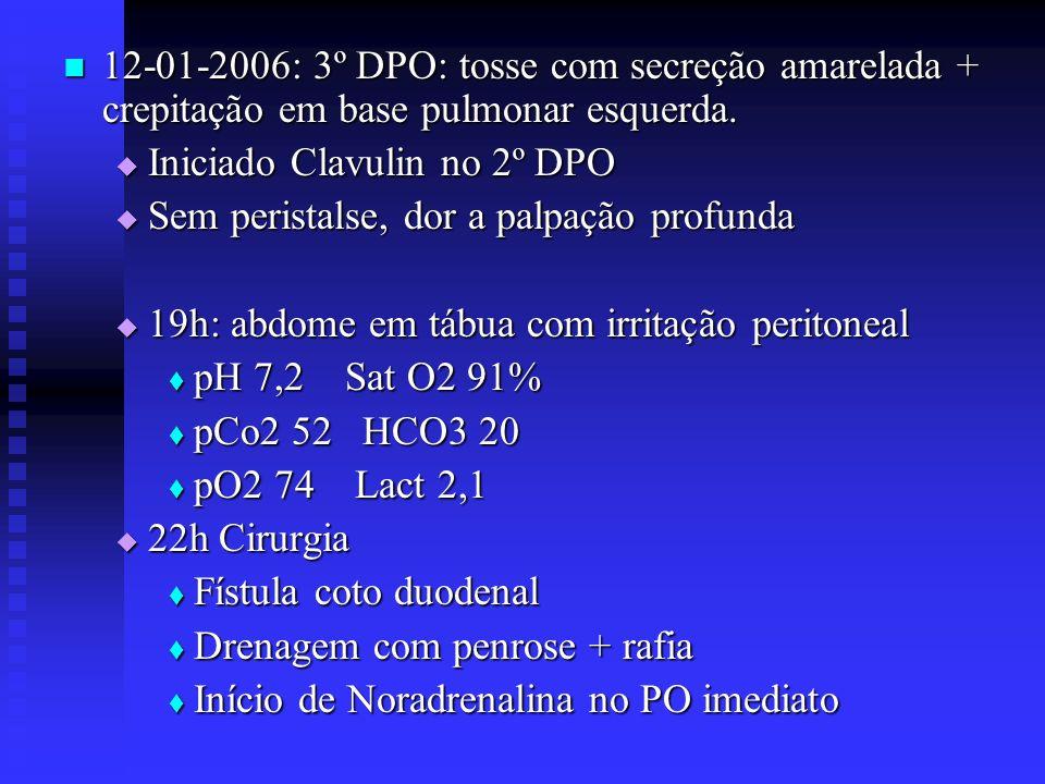 12-01-2006: 3º DPO: tosse com secreção amarelada + crepitação em base pulmonar esquerda. 12-01-2006: 3º DPO: tosse com secreção amarelada + crepitação