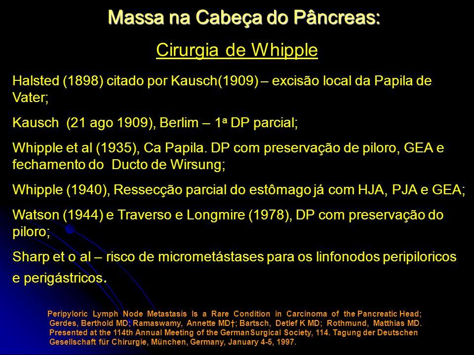 Massa na Cabeça do Pâncreas: Cirurgia de Whipple Halsted (1898) citado por Kausch(1909) – excisão local da Papila de Vater; Kausch (21 ago 1909), Berl