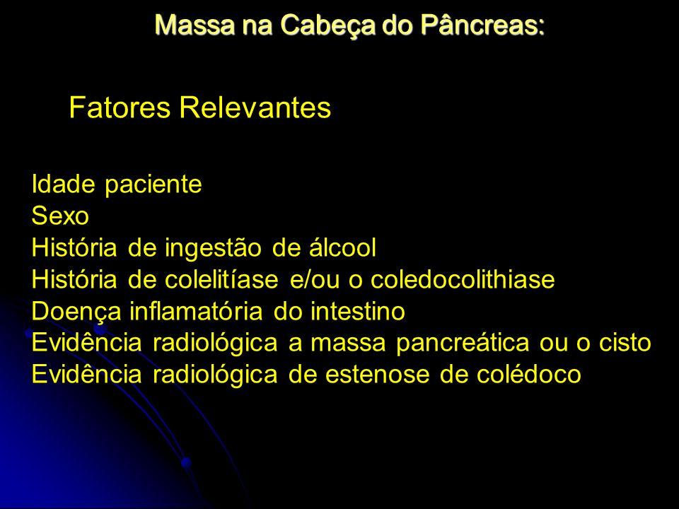 Massa na Cabeça do Pâncreas: Idade paciente Sexo História de ingestão de álcool História de colelitíase e/ou o coledocolithiase Doença inflamatória do