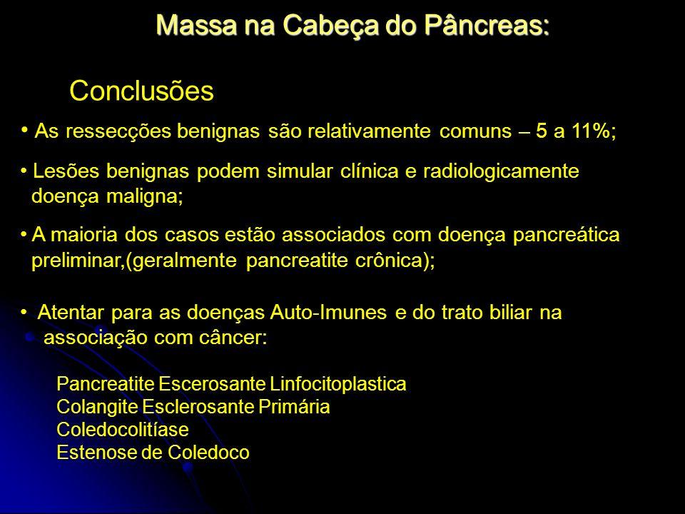 Massa na Cabeça do Pâncreas: Conclusões As ressecções benignas são relativamente comuns – 5 a 11%; Lesões benignas podem simular clínica e radiologica