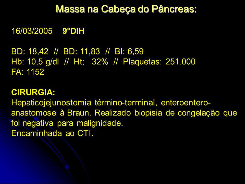 Massa na Cabeça do Pâncreas: 16/03/2005 9°DIH BD: 18,42 // BD: 11,83 // BI: 6,59 Hb: 10,5 g/dl // Ht; 32% // Plaquetas: 251.000 FA: 1152 CIRURGIA: Hep