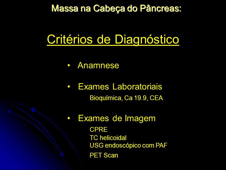 Massa na Cabeça do Pâncreas: Critérios de Diagnóstico Anamnese Exames Laboratoriais Bioquímica, Ca 19.9, CEA Exames de Imagem CPRE TC helicoidal USG e