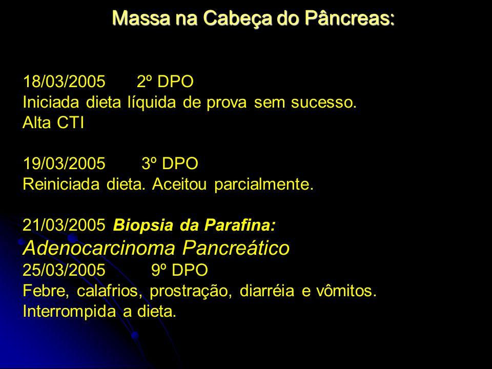 Massa na Cabeça do Pâncreas: 18/03/2005 2º DPO Iniciada dieta líquida de prova sem sucesso. Alta CTI 19/03/2005 3º DPO Reiniciada dieta. Aceitou parci