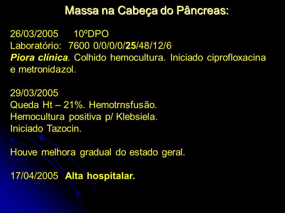 Massa na Cabeça do Pâncreas: 26/03/2005 10ºDPO Laboratório: 7600 0/0/0/0/25/48/12/6 Piora clínica. Colhido hemocultura. Iniciado ciprofloxacina e metr