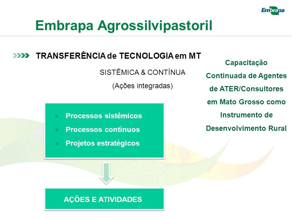 Embrapa Agrossilvipastoril TRANSFERÊNCIA de TECNOLOGIA em MT SISTÊMICA & CONTÍNUA (Ações integradas) »Processos sistêmicos »Processos contínuos »Projetos estratégicos AÇÕES E ATIVIDADES Capacitação Continuada de Agentes de ATER/Consultores em Mato Grosso como Instrumento de Desenvolvimento Rural