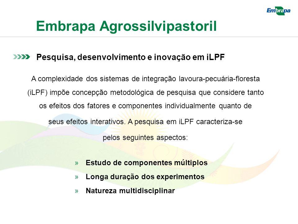 Embrapa Agrossilvipastoril Pesquisa, desenvolvimento e inovação em iLPF A complexidade dos sistemas de integração lavoura-pecuária-floresta (iLPF) impõe concepção metodológica de pesquisa que considere tanto os efeitos dos fatores e componentes individualmente quanto de seus efeitos interativos.