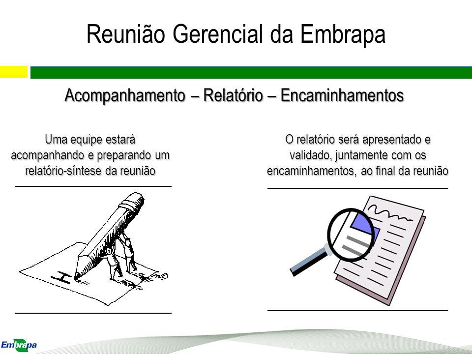Reunião Gerencial da Embrapa Acompanhamento – Relatório – Encaminhamentos Uma equipe estará acompanhando e preparando um relatório-síntese da reunião