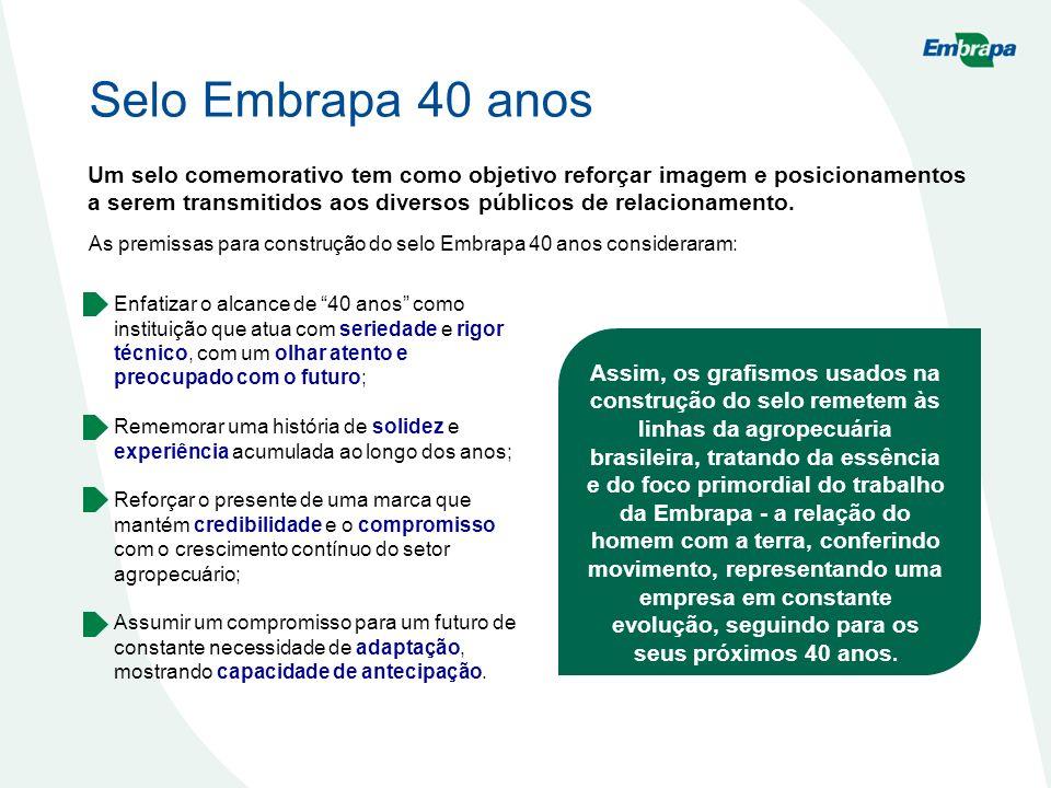Selo Embrapa 40 anos Um selo comemorativo tem como objetivo reforçar imagem e posicionamentos a serem transmitidos aos diversos públicos de relacionamento.
