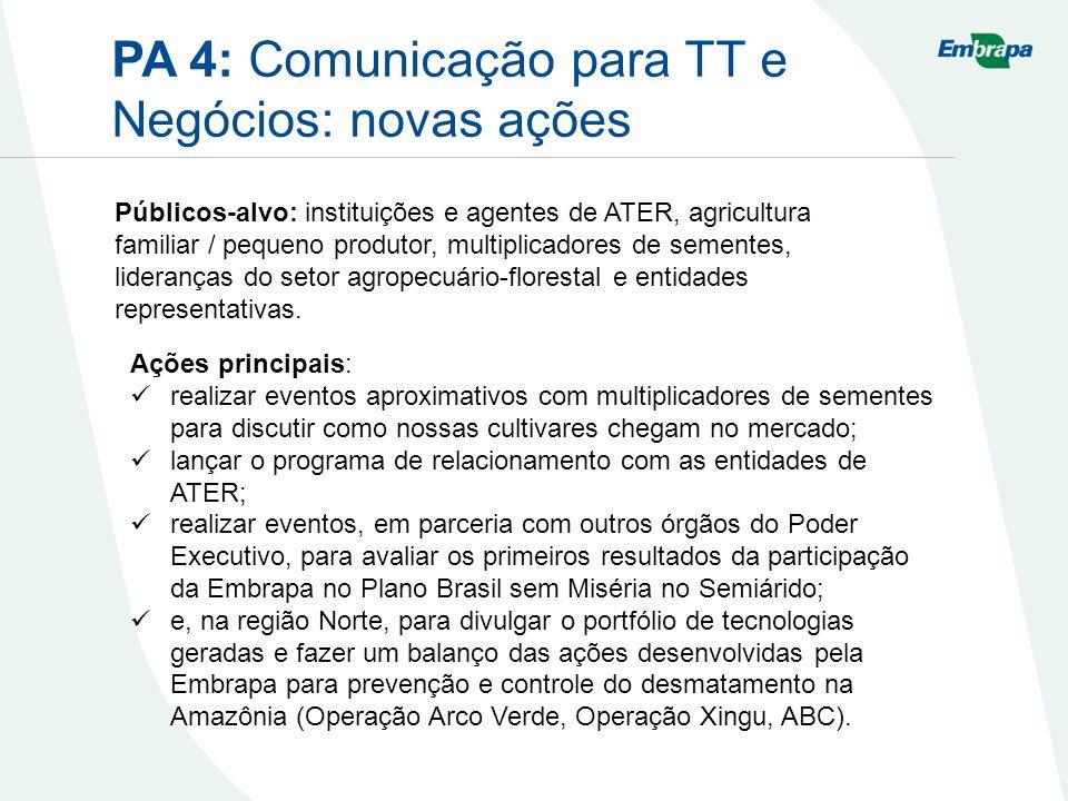 PA 4: Comunicação para TT e Negócios: novas ações Ações principais: realizar eventos aproximativos com multiplicadores de sementes para discutir como nossas cultivares chegam no mercado; lançar o programa de relacionamento com as entidades de ATER; realizar eventos, em parceria com outros órgãos do Poder Executivo, para avaliar os primeiros resultados da participação da Embrapa no Plano Brasil sem Miséria no Semiárido; e, na região Norte, para divulgar o portfólio de tecnologias geradas e fazer um balanço das ações desenvolvidas pela Embrapa para prevenção e controle do desmatamento na Amazônia (Operação Arco Verde, Operação Xingu, ABC).
