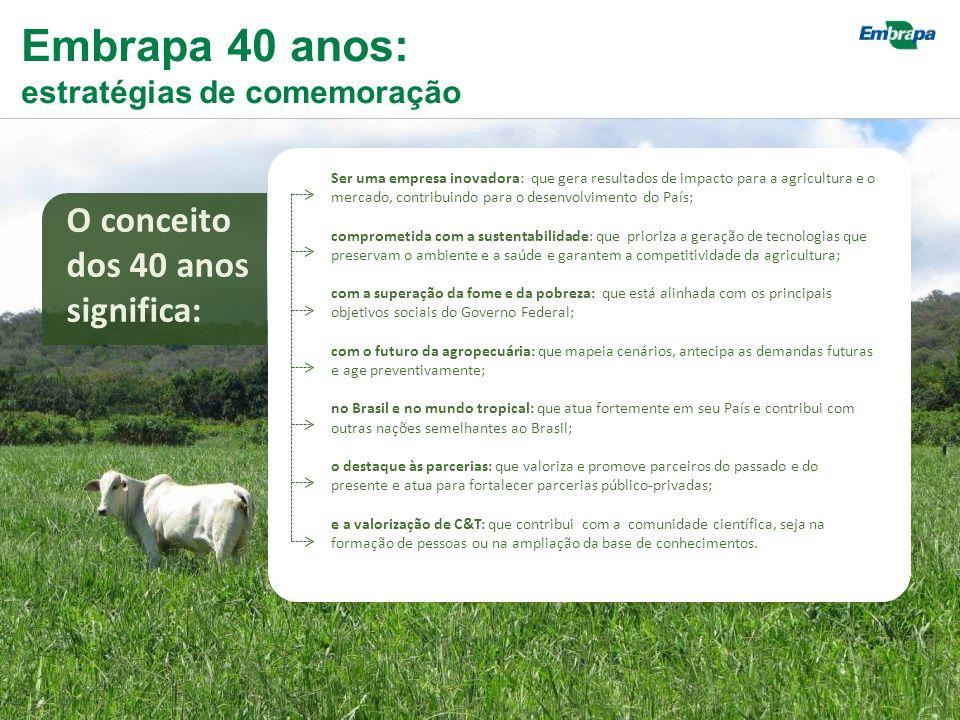 Ser uma empresa inovadora: que gera resultados de impacto para a agricultura e o mercado, contribuindo para o desenvolvimento do País; comprometida com a sustentabilidade: que prioriza a geração de tecnologias que preservam o ambiente e a saúde e garantem a competitividade da agricultura; com a superação da fome e da pobreza: que está alinhada com os principais objetivos sociais do Governo Federal; com o futuro da agropecuária: que mapeia cenários, antecipa as demandas futuras e age preventivamente; no Brasil e no mundo tropical: que atua fortemente em seu País e contribui com outras nações semelhantes ao Brasil; o destaque às parcerias: que valoriza e promove parceiros do passado e do presente e atua para fortalecer parcerias público-privadas; e a valorização de C&T: que contribui com a comunidade científica, seja na formação de pessoas ou na ampliação da base de conhecimentos.