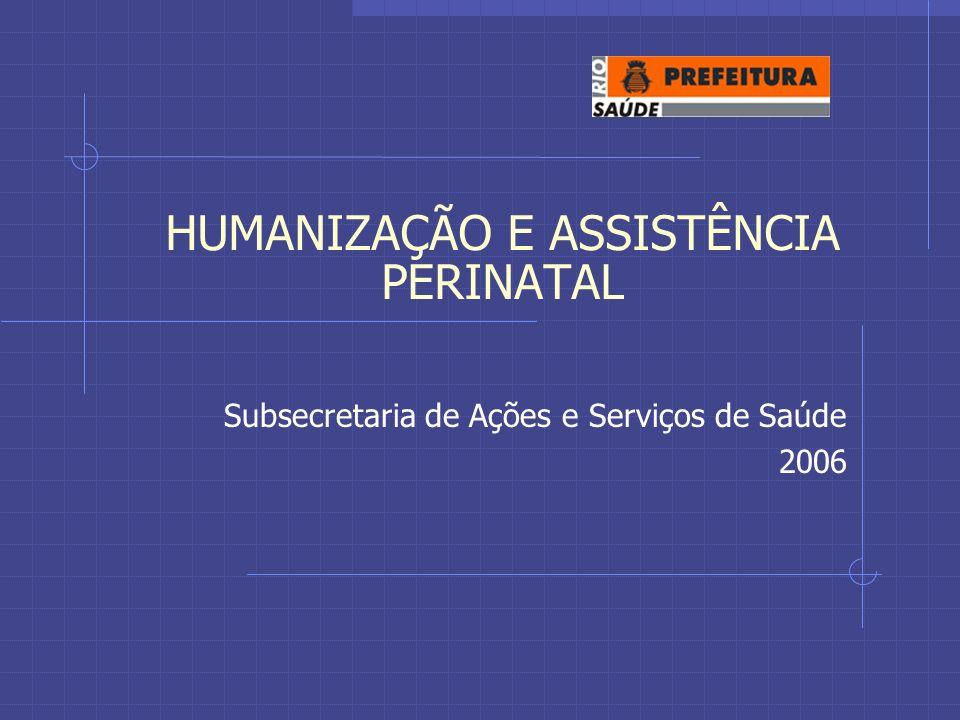 HUMANIZAÇÃO E ASSISTÊNCIA PERINATAL Subsecretaria de Ações e Serviços de Saúde 2006