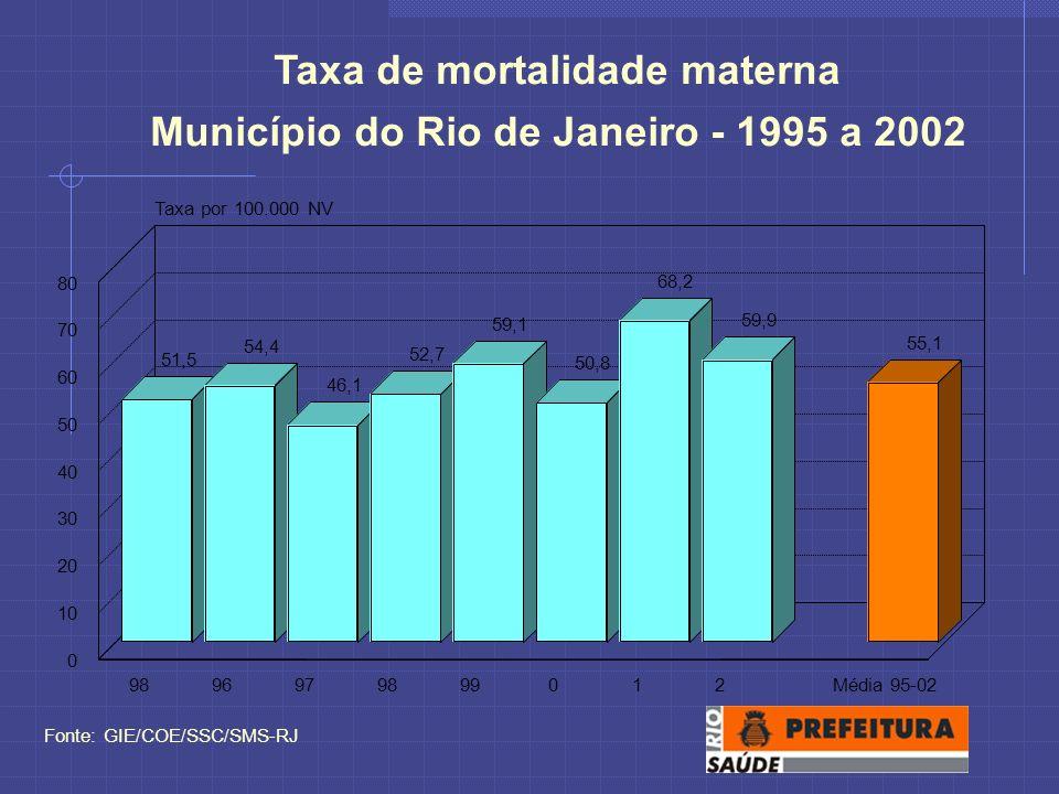 Taxa de mortalidade materna Município do Rio de Janeiro - 1995 a 2002 Fonte: GIE/COE/SSC/SMS-RJ 51,5 54,4 46,1 52,7 59,1 50,8 68,2 59,9 55,1 9896979899012Média 95-02 0 10 20 30 40 50 60 70 80 Taxa por 100.000 NV