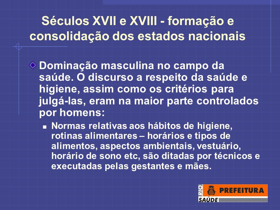 Séculos XVII e XVIII - formação e consolidação dos estados nacionais Dominação masculina no campo da saúde.