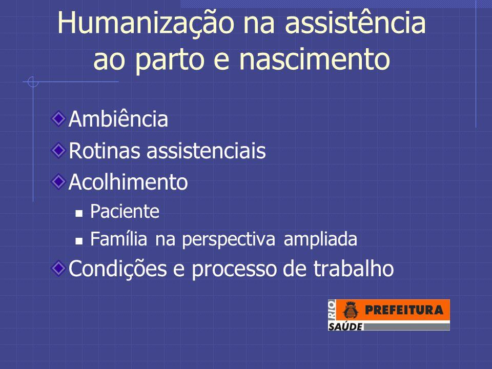 Humanização na assistência ao parto e nascimento Ambiência Rotinas assistenciais Acolhimento Paciente Família na perspectiva ampliada Condições e processo de trabalho