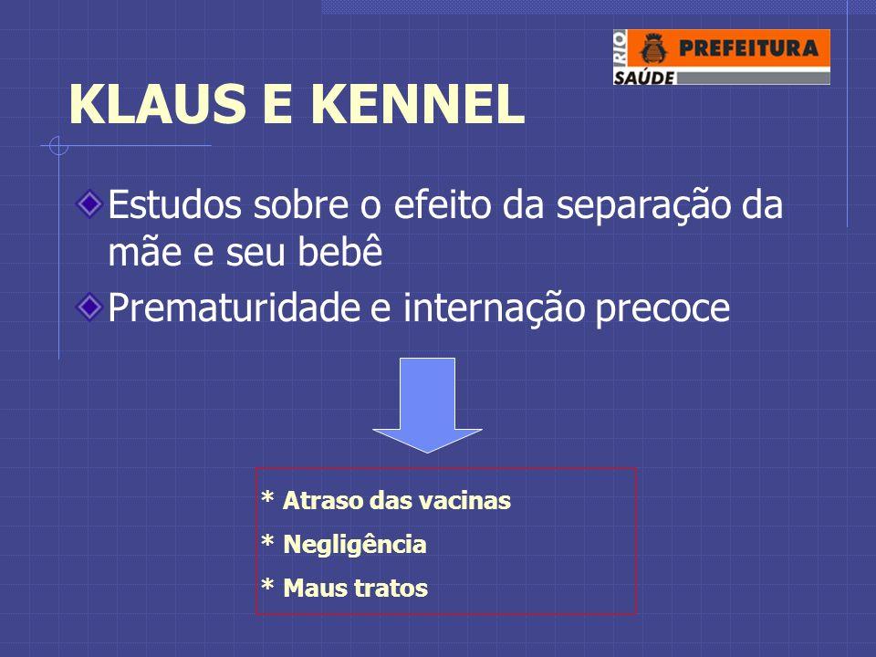 KLAUS E KENNEL Estudos sobre o efeito da separação da mãe e seu bebê Prematuridade e internação precoce * Atraso das vacinas * Negligência * Maus tratos