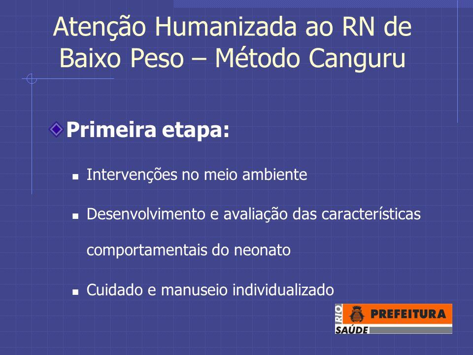 Atenção Humanizada ao RN de Baixo Peso – Método Canguru Primeira etapa: Intervenções no meio ambiente Desenvolvimento e avaliação das características comportamentais do neonato Cuidado e manuseio individualizado