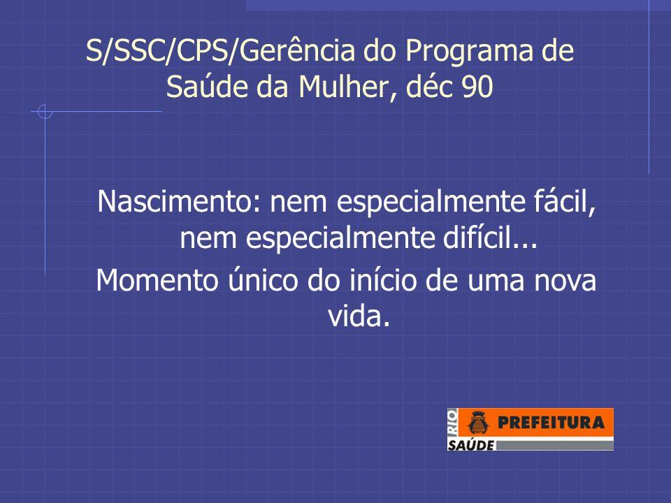 S/SSC/CPS/Gerência do Programa de Saúde da Mulher, déc 90 Nascimento: nem especialmente fácil, nem especialmente difícil...