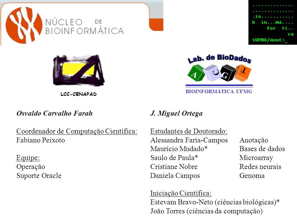 LCC-CENAPAD A T G C BIOINFORMÁTICA UFMG Osvaldo Carvalho Farah Coordenador de Computação Científica: Fabiano Peixoto Equipe: Operação Suporte Oracle J