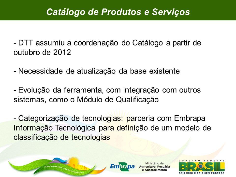 - DTT assumiu a coordenação do Catálogo a partir de outubro de 2012 - Necessidade de atualização da base existente - Evolução da ferramenta, com integ