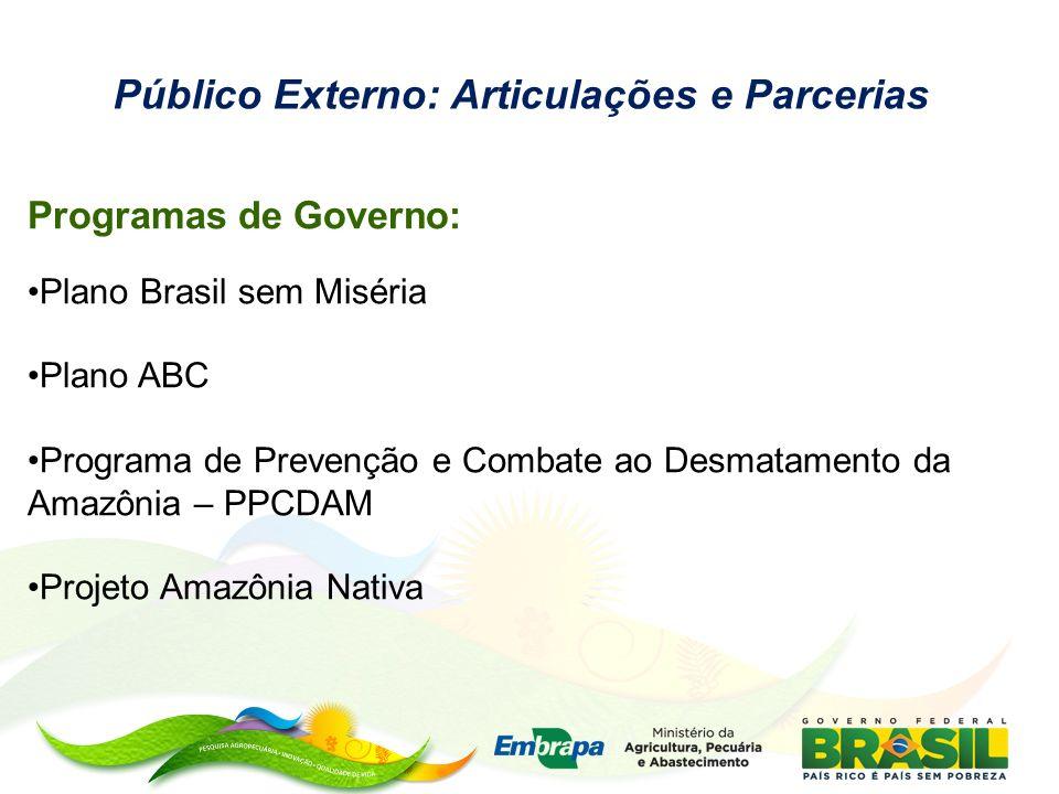 Programas de Governo: Plano Brasil sem Miséria Plano ABC Programa de Prevenção e Combate ao Desmatamento da Amazônia – PPCDAM Projeto Amazônia Nativa