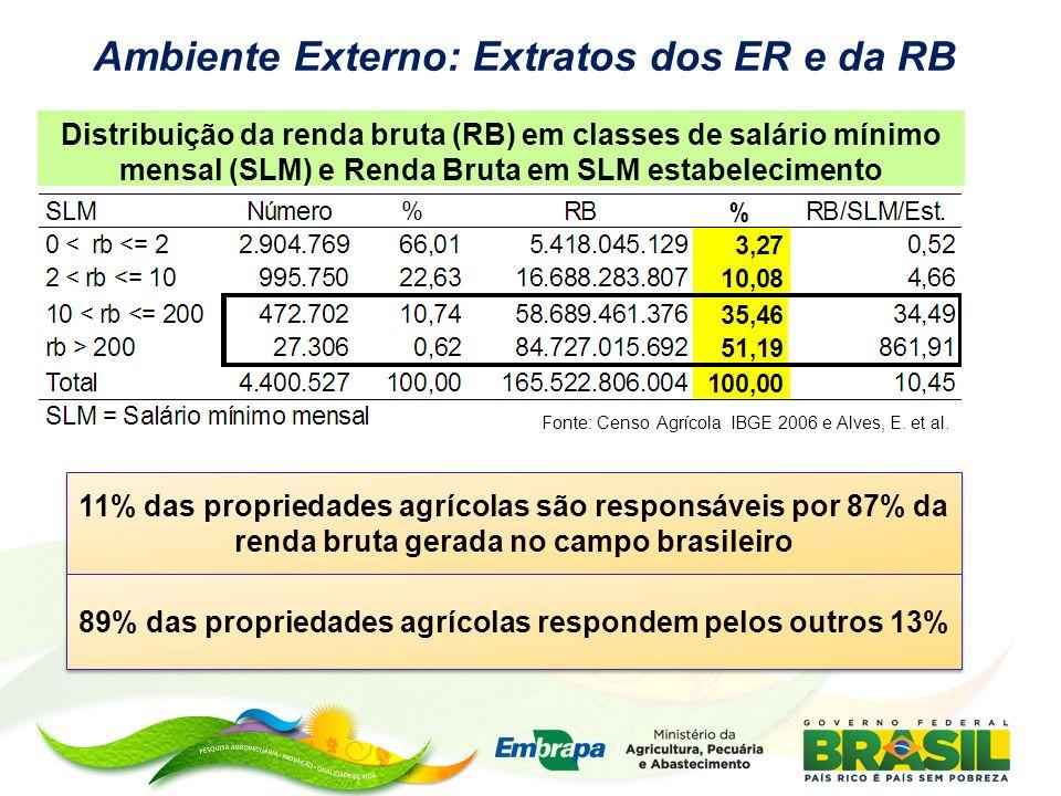 Ambiente Externo: Extratos dos ER e da RB Fonte: Censo Agrícola IBGE 2006 e Alves, E. et al. Distribuição da renda bruta (RB) em classes de salário mí